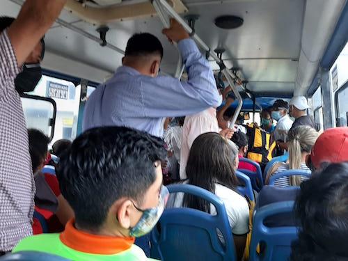 Falta de respeto por las medidas de bioseguridad en los autobuses