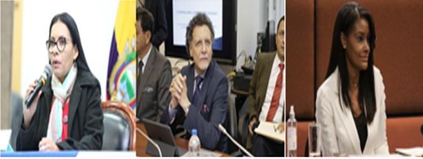 FUNCIONARIOS. Diana Atamaint, presidenta del CNE; Pablo Celi, contralor; y, Diana Salazar, fiscal de la Nación.