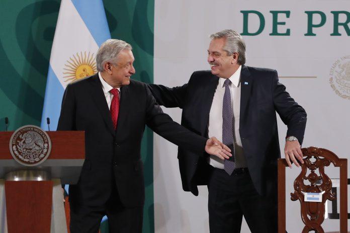 Presidentes. Alberto Fernández participó ayer en una rueda de prensa matutina con su homólogo de México, Andrés Manuel López Obrador.