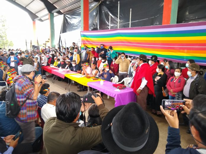 SESIÓN. Consejo Ampliado de la Confederación de Nacionalidades Indígenas del Ecuador, en Guaranda. Foto: Conaie.