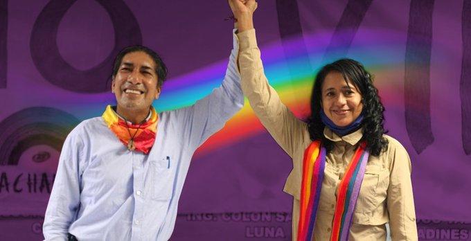 APOYO. La ex candidata a la Vicepresidencia de la República, Virna Cedeño, participó como binomio de Yaku Perez. Ambos por Pachakutik.