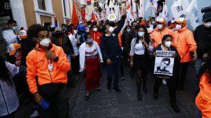 Candidato. Arauz cerró su campaña en Manabí y en Quito.