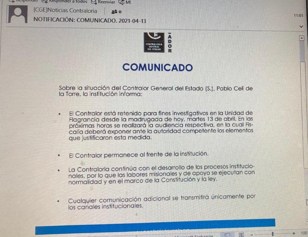 COMUNICADO. Foto del correo electrónico enviado a los trabajadores de la Contraloría indicando que Pablo Celi continúa en el cargo.