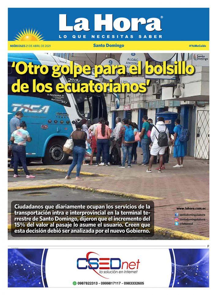 Santo Domingo: 21 de abril, 2021