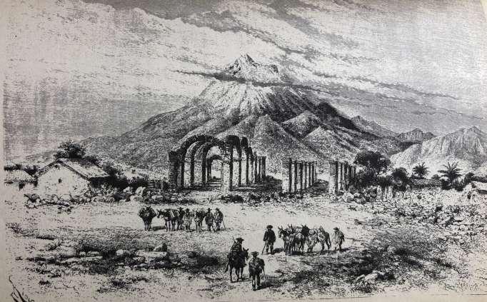 Tragedia. Tras quedar en las ruinas, así representó el francés Edouard Riou el terremoto de 1868, donde se observa a la Catedral totalmente destruida y de fondo el volcán Imbabura.