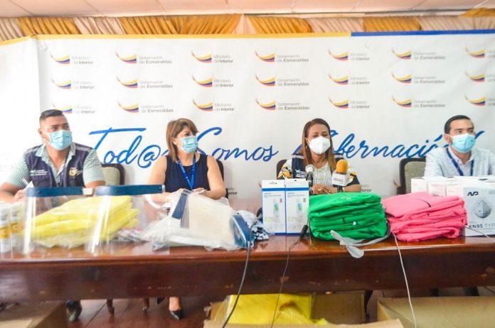 DONACIÓN. 1489 implementos de bioseguridad e insumos médicos, recibió la Gobernadora de Esmeraldas para entregar a las comunidades rurales de la provincia.