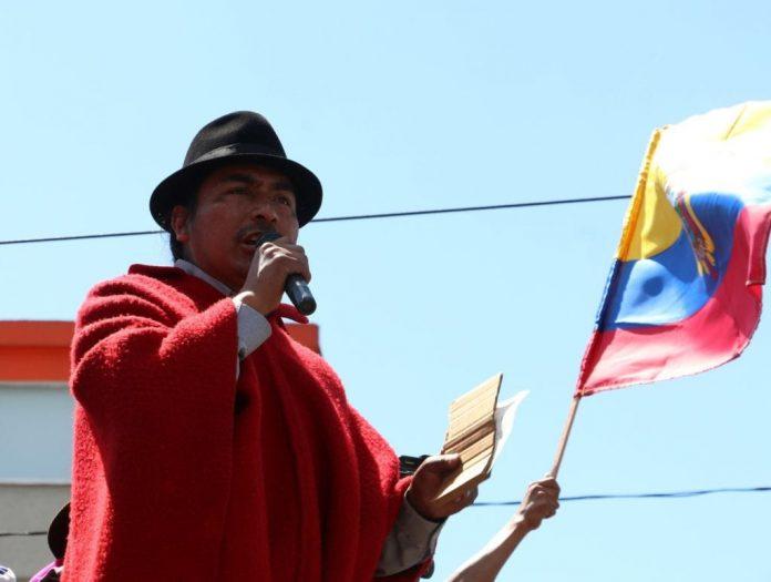 Protestas. Leonidas Iza, dirigente indígena durante las protestas de octubre de 2019.