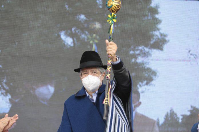 Agenda. La única actividad que cumplió Guillermo Lasso en Imbabura fue en San Pablo del Lago, cantón Otavalo, donde se reunió con autoridades zonales. (Foto: Presidencia)