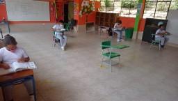JORNADA. Estudiantes de la escuela Juan Francisco Rubio en clases presenciales.