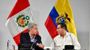 Los expresidentes Lenín Moreno y Martín Vizcarra, de Ecuador y Perú respectivamente, se reunieron en Tumbes en 2019.