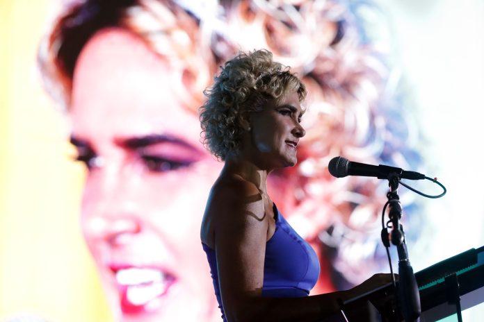 ACTO. La alcaldesa, Cynthia Viteri en su intervención en la ceremonia de independencia de Guayaquil
